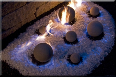 Make Blue flames with Black Magic sand. White and green sand for ...
