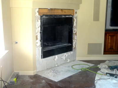 DIY home fireplace remodel with fireglass