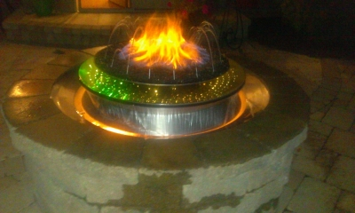 Custom water and fire feature with LED lights