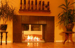 modern fireplace design using fireglass