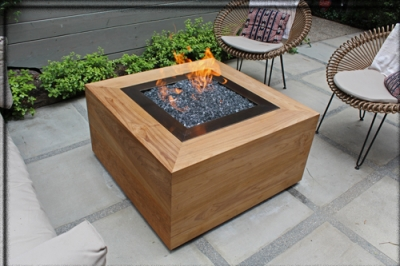 Judy Goldman Santa Monica Fire Table - Teak fire pit table