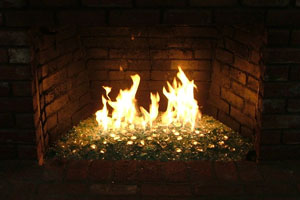 Picture samples of completed fire glass fireplace. Ice on fire ...