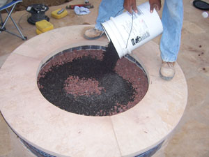 lava rock fire pit base