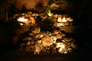 outdoor custom fire and water waterfall fountain4