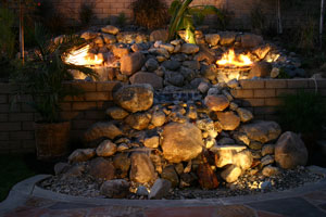 outdoor custom fire and water waterfall fountain 6
