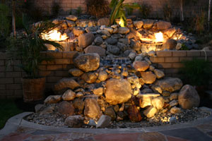 outdoor custom fire and water waterfall fountain 7