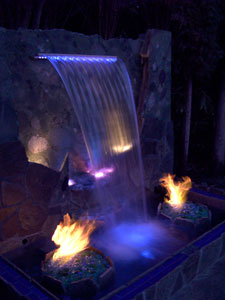Custom water fall with fiber optic lighting and fireglass
