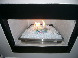 ventless burner pan for fireplace