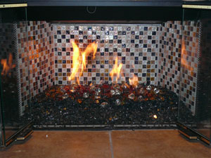 Yellow Amber Fire Pit and Fireplace Glass stones rocks, fireplace ...