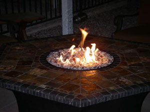 Fire Burner Accessories For Fire Pit Tables With Fireglass With - Octagon propane fire pit table