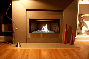 here is another ventless fireplace with a steel pan and a stainless face added to cover the controls the fireglass in these photos is azurlite base glass - Ventless Fireplace