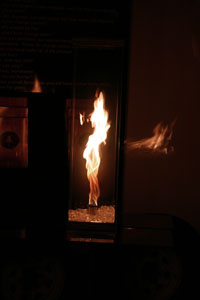 flame feature in a glass