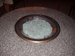 glassfire fire pit table with metal bowl