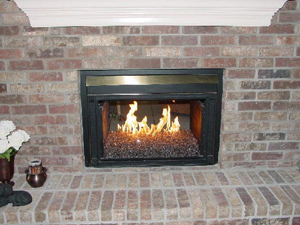 brick fireplace ideas using glass stones