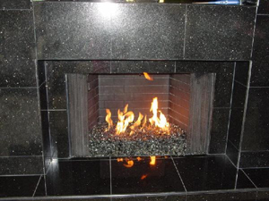 marble fireplace conversaion ideas using fireglass