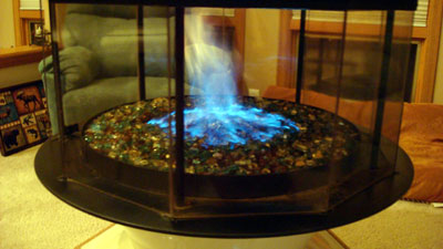 Aquatic Glassel/ Moderustic | Moderustic.com | Fireplace glass and Fire Pit glass