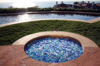 Custom pool side firepit