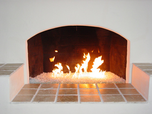 modern fireplace with glass stones