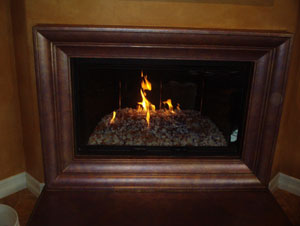 fireplace surround with fireglass