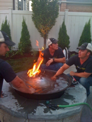 Outdoor Custom Fire And Water Feature Firefalls With Fire Pit Avialable In Either Propane Or Natural Gas