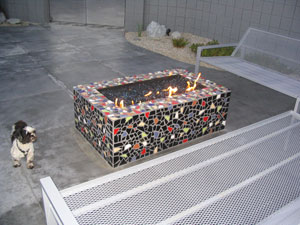 mosaic fire pit with glass fire stones