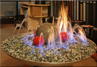 Water over Fire ... - Backyard Fire Pit Designs Using Fire Glass. Rock Fireplaces Designed