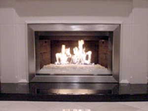 Custom aluminum Fireplace Frame surrounds for fireglass fireplaces