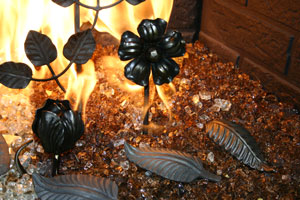 Metal decorative objects for the fireplace