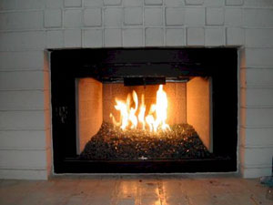 A rich brilliant blue fireplace glass - Ford Blue Reflective ...