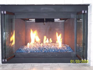 Picture Samples Of Completed Fire Glass Fireplace Ice On