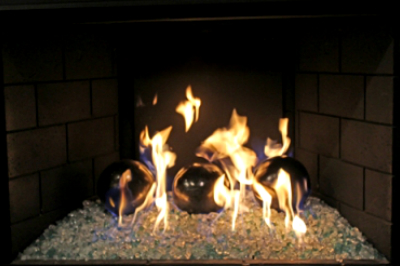 Direct Vent fireplaces converted to fire glass fireplaces.