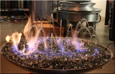 Custom Outdoor Stainless Steel Fire And Water Fountain Features